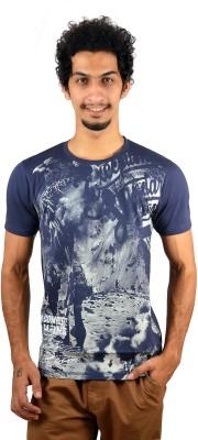 GreyBooze Graphic Print Men's Round Neck Dark Blue T-Shirt