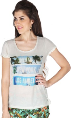 La Vida Printed Womens Round Neck White T-Shirt