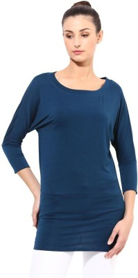 T-shirt Company Solid Women's Round Neck Blue T-Shirt