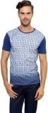 Gen Printed Men's Round Neck Blue T-Shir...