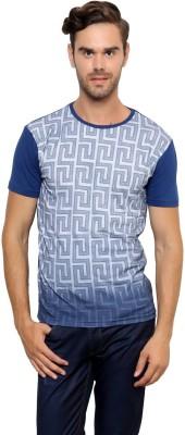 Crux&Hunter Printed Men's Round Neck Blue T-Shirt