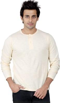 Stephen Armor Solid Men's Henley Beige T-Shirt