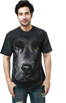 The Mountain Printed Men's Round Neck Black T-Shirt