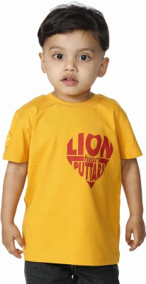 Daddy's Capes Printed Boy's Round Neck Yellow, Red T-Shirt