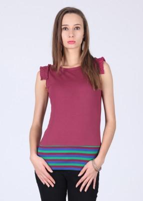 Remanika Striped Women's Round Neck Blue, Maroon T-Shirt