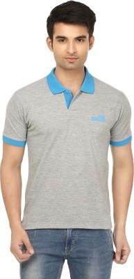Himgiri Solid Men's Polo Neck Grey, Blue T-Shirt