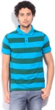 Van Heusen Striped Men's Polo Neck Blue ...