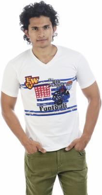 Shapers Printed Men's V-neck White T-Shirt