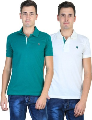 Duke Solid Men's Polo Neck Green, White T-Shirt