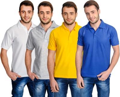 Superjoy Solid Men's Polo Neck Grey, Blue, White, Yellow T-Shirt