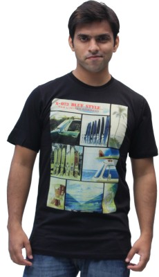 Romano Printed Men's Round Neck Black T-Shirt