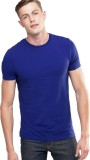 Feed Up Solid Men's Round Neck Blue T-Sh...