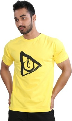 Just Differ Graphic Print Men's Round Neck Yellow T-Shirt