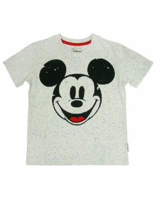 Mickey & Friends Printed Boy's Round Neck White T-Shirt