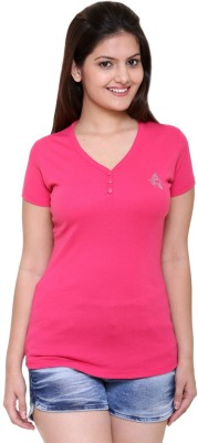 IN Love Solid Women's V-neck Pink T-Shirt