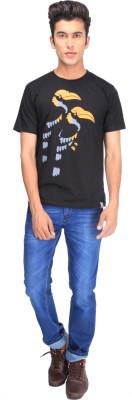 One For Blue Animal Print Men's Round Neck Black T-Shirt