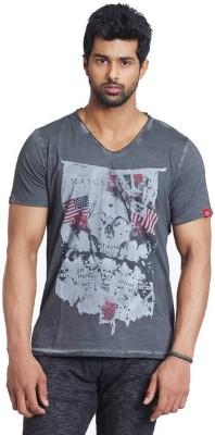 Fashnopolism Printed Men's V-neck Grey T-Shirt