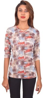 Blueash Geometric Print Women's Round Neck Multicolor T-Shirt