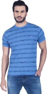 Lawman Striped Men's Round Neck Blue T-Shirt
