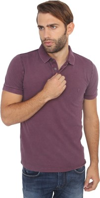 French Connection Striped Men's Polo Neck Purple T-Shirt