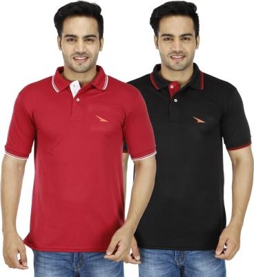 PRO Lapes Solid Men's Polo Neck Black, Maroon T-Shirt