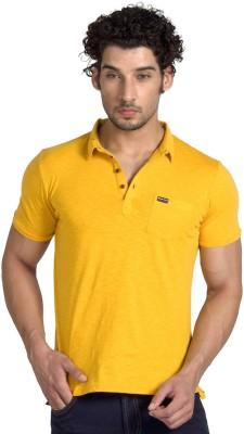 Klub Fox Solid Men's Polo Neck Yellow T-Shirt