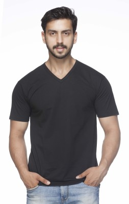 Demokrazy Solid Men's V-neck Black T-Shirt