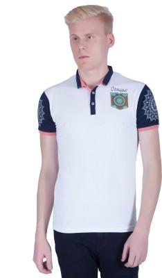 LAWMAN Printed Men's Polo Neck White T-Shirt