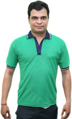 CRYSTAL Solid Men's Polo Neck Green T-Shirt