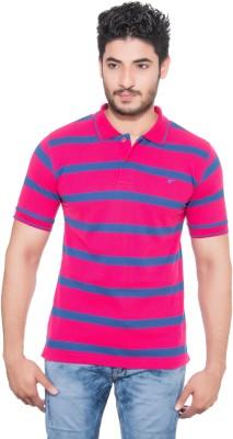 Fabilano Striped Men's Polo Neck Pink, Blue T-Shirt