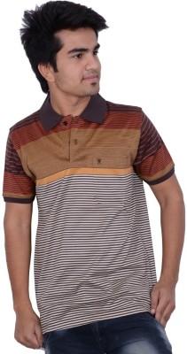 Being Dessi Striped Men's Flap Collar Neck Brown T-Shirt