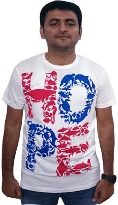YDA Printed Men's Round Neck White T-Shirt
