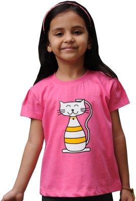 Snowflakes Printed Baby Girl's Round Neck Pink T-Shirt