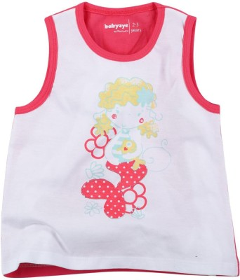 Babyoye Printed Girl's Round Neck Pink T-Shirt