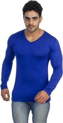 Male Basics Solid Men's V-neck Blue T-Shirt