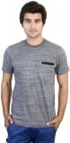 SHRA Solid Men's Round Neck Grey T-Shirt