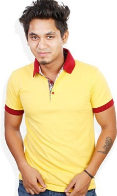 Evermore Stores Solid Men's Polo Neck Yellow, Maroon T-Shirt