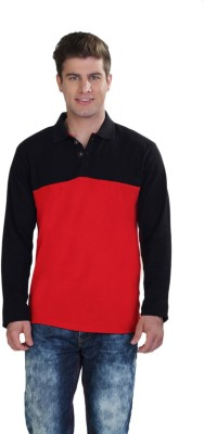 Happy Hippie Solid Men's Polo Neck Black, Red T-Shirt