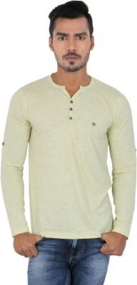 Killer Solid Men's Henley White, Yellow T-Shirt