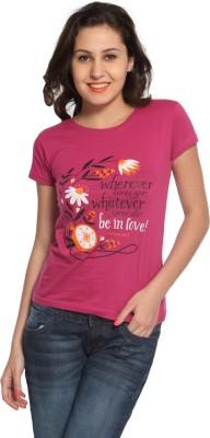 Maatra Printed Women,s Round Neck Pink T-Shirt