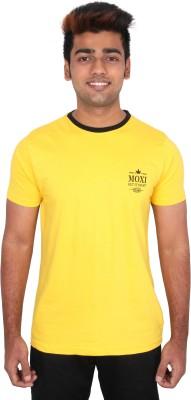 Moxi Printed Men's Round Neck Yellow T-Shirt