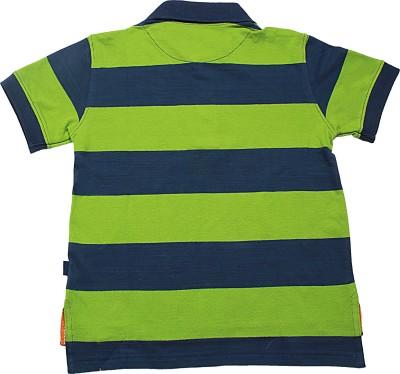 Blue Giraffe Striped Boy's Polo Neck Green T-Shirt