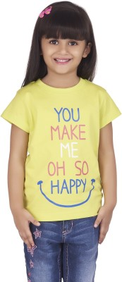 Super Young Printed Girl's Round Neck Light Green T-Shirt