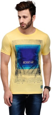 Ausy Solid, Printed Men's Round Neck Yellow T-Shirt
