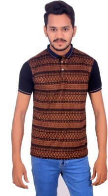 BOMBAY BLUES Printed Men's Polo Neck Brown T-Shirt