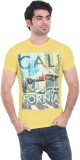 Zulements Printed Men's Round Neck Yello...