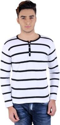 Bigidea Striped Men's Henley White, Black T-Shirt