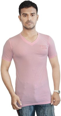 Al-Harsha Trend Solid Men's V-neck Pink T-Shirt