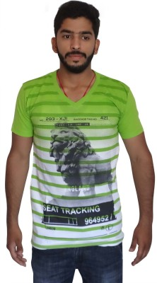 Uniqe Printed Men's V-neck Green T-Shirt