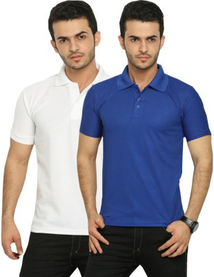 Fundoo-T Solid Men's Polo White, Blue T-Shirt
